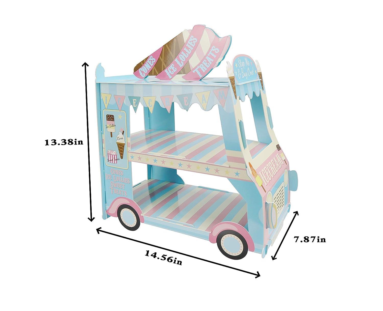 KAPOKKU 3 Tier Cupcake Stand Ice Cream Van Stand Cars Display StandCar Cupcake Cake Stand Paper Cupcake Holder for Theme Kids Birthday Party,Paper Car Van stand cupcake holder