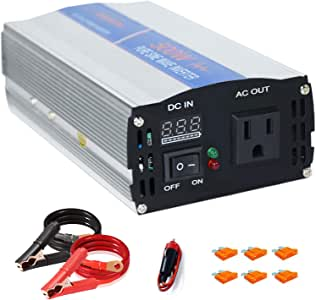 aeliussine 500 watt Pure Sine Wave Inverter 12v dc to ac 120v with LED Display for Off Grid Solar Power System (500w12v)