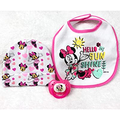 Reborn Baby Doll Girl Minnie Mouse Collection Hat Bib Modified Putty Pacifier Playset Pretend: Toys & Games