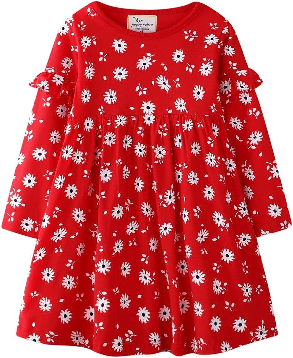 Hongshilian Toddler Girls Longsleeve Dress Cotton Jersey Casual Dresses Cartoon Applique