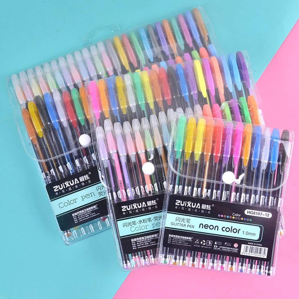 Etuoji Students Durable Portable Smooth Long Lasting Glitter Gel Pen Set Writing Tool Gel Ink Rollerball Pens by Etuoji