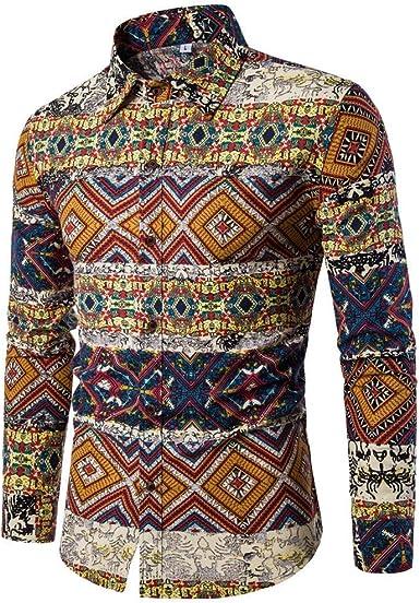 Camisa De Manga Larga Estampado Jersey Ropa Hombre Festiva para Camisa Casual De Solapa De Gran Tamaño Cuello Alto De Negocios Blusa De Corte Slim Buttondown Tops: Amazon.es: Ropa y accesorios
