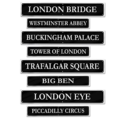 "Beistle 54824 British Street Sign Cutouts (4 Pack), 4"" x 24"", Black/Gray: Kitchen & Dining"