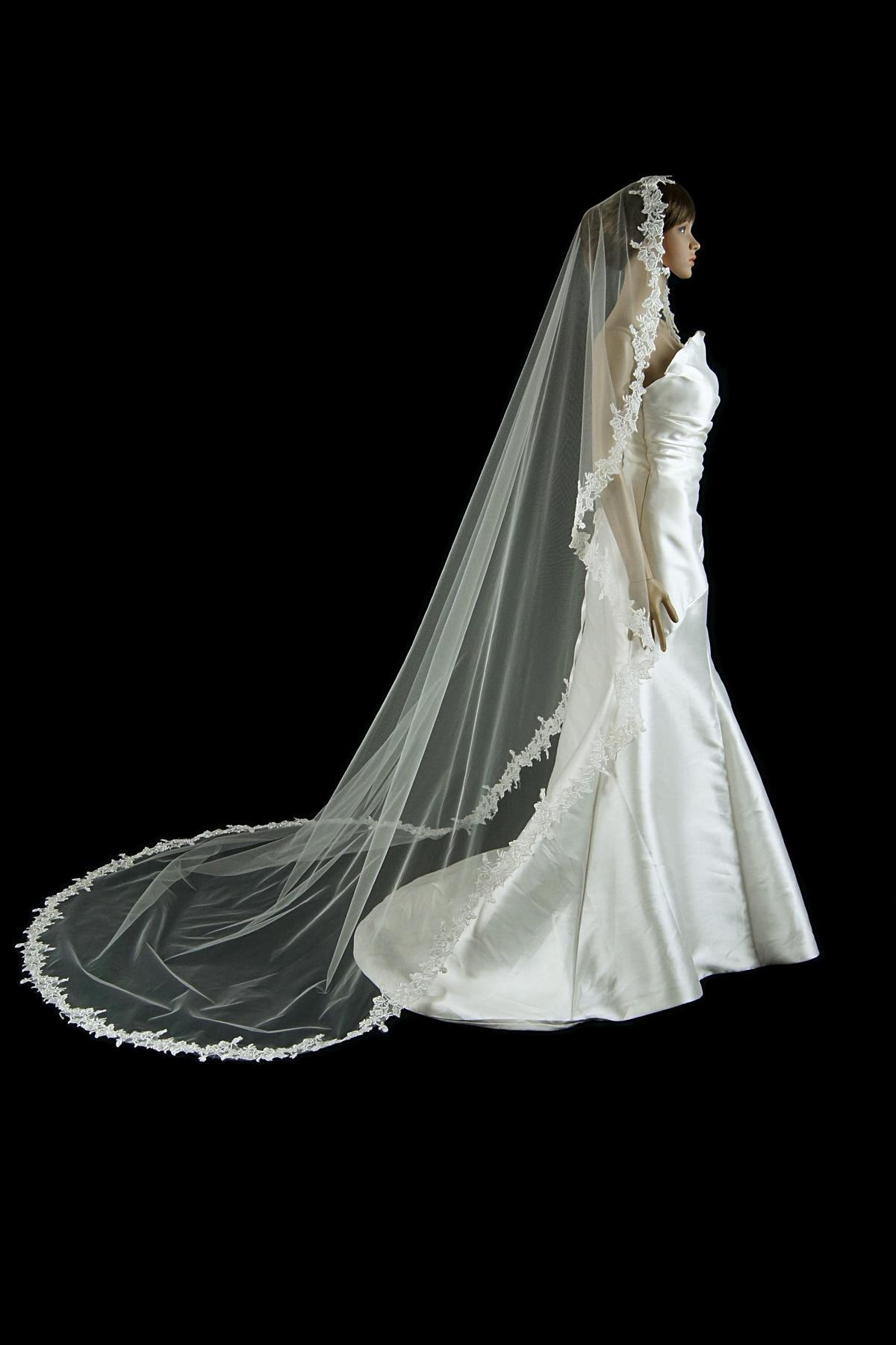 Bridal Mantilla Veil Ivory 1 Tier Long Cathedral Length With Simple Lace Edge by Velvet Bridal (Image #3)