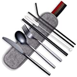 HOMQUEN Portable Utensils,Travel Camping Flatware Set,Stainless Steel Silverware Set,Include Knive/Fork/Spoon/Chopsticks/Straws/Brush/Portable Case(Black-8 Piece)