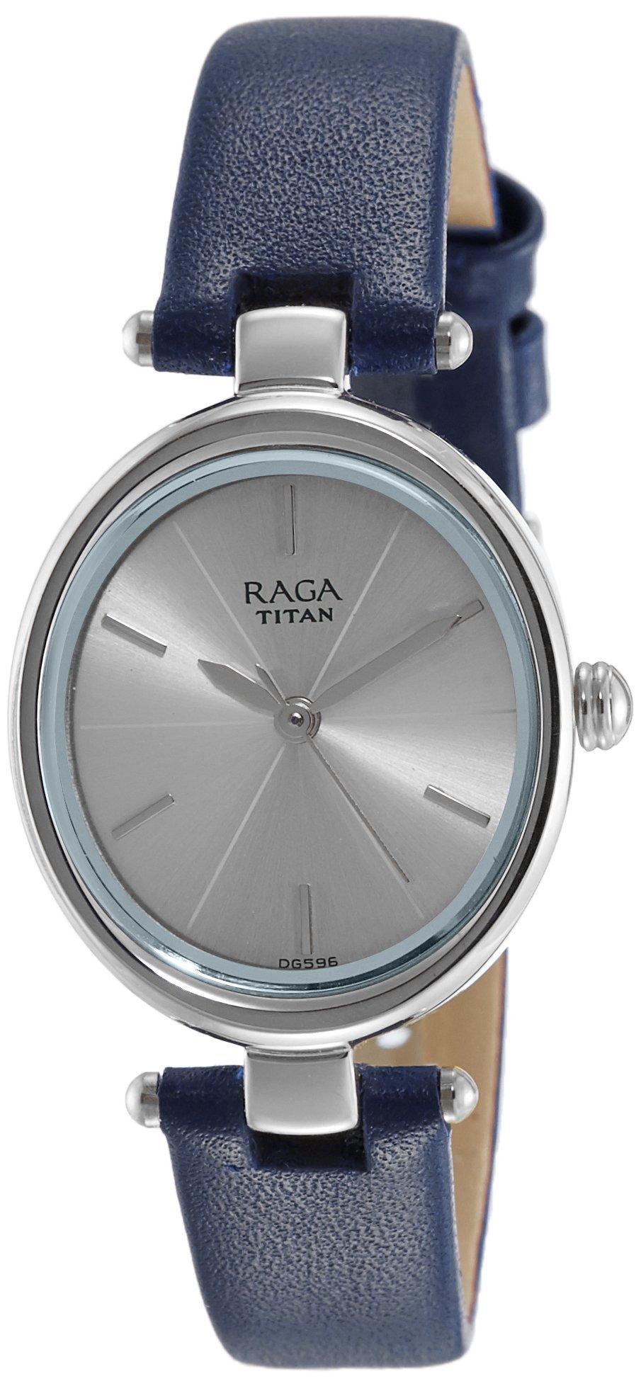 Titan Raga Viva Analog Blue Dial Women's Gold/Silver Metal/Brass/Leather, Jewellery Design, Bracelet Style, Designer, Quartz Glass, Water Resistant Wrist Watch