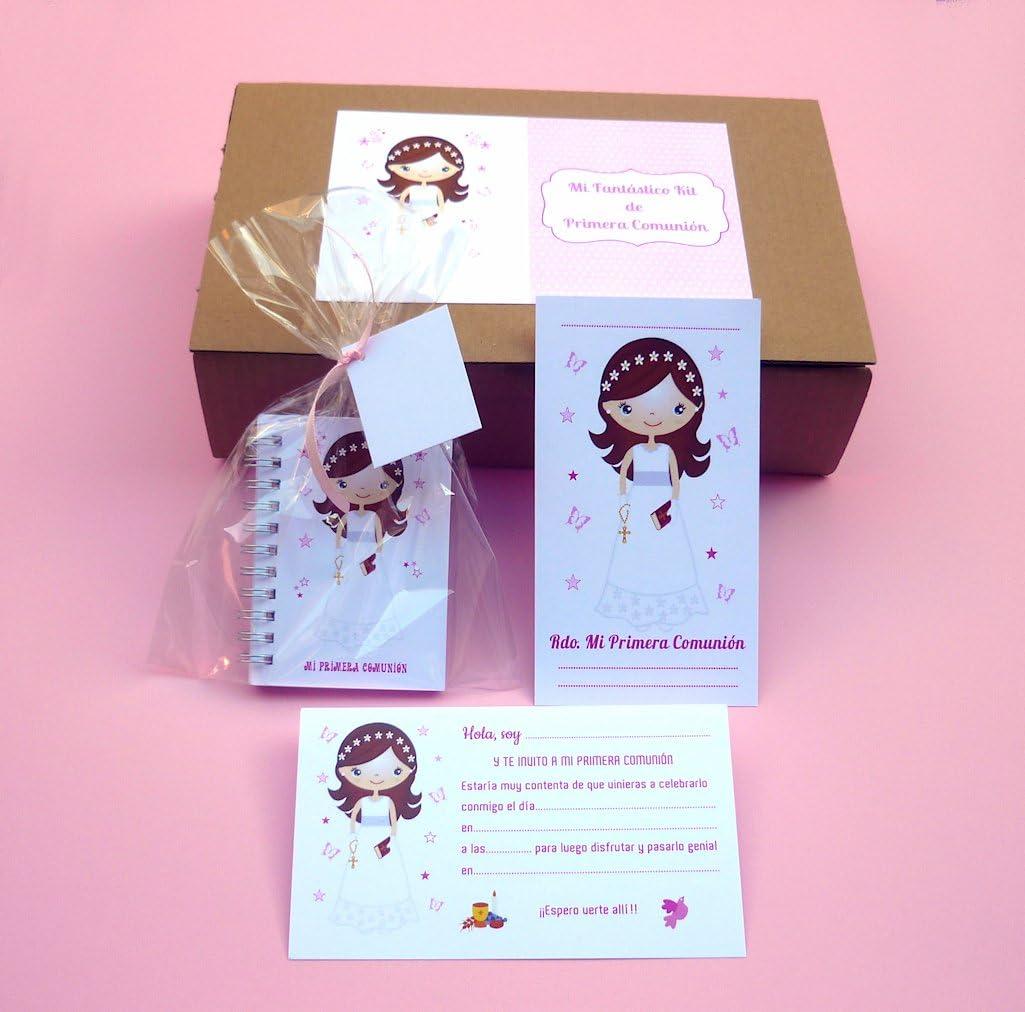 Recuerdos y Detalles de Comunión Para Invitados - Kit Regalo de Primera Comunión Niña - Incluye 15 Invitaciones con sobre - 15 Recordatorios con sobre - 15 Libretas con bolsa y cintas surtidas: Amazon.es: Hogar