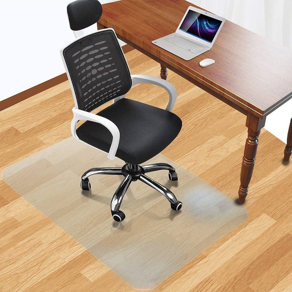 Office Desk Chair Mat for Hard Wood Floor Thick PVC Matte 48'' x 36'',Transparent Sturdy Chair Mat