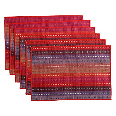 WOOD MEETS COLOR Cotton Table Placemats Set of 6 Woven Braided Ribbed Washable Kitchen Table Mats, 12  x 18  (Red 2)