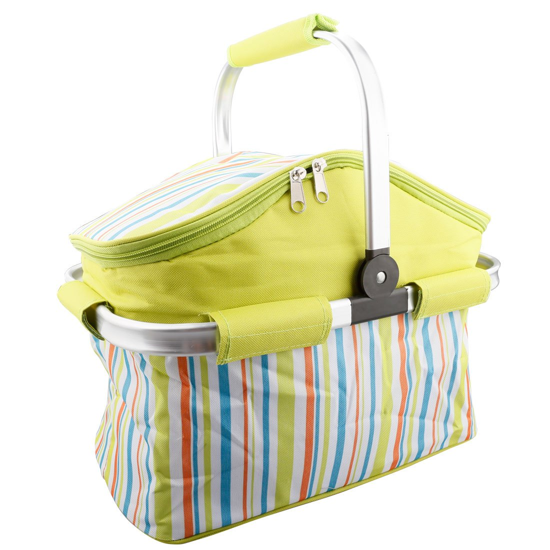 A-SZCXTOP 20L Folding Insulated Picnic Basket Cooler Bag for Food Storage Lightweight and Durable Tote-Green