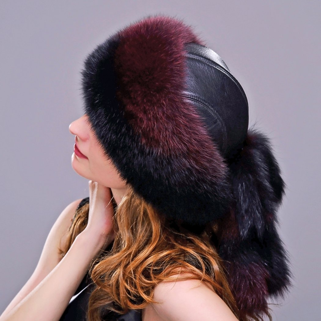 URSFUR Fox Fur Roller Hat with Leather Top and Tails (One Size Fits All, Black & Red) by URSFUR (Image #4)