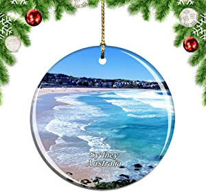 Weekino Australia Bondi Beach Sydney Christmas Xmas Tree Ornament Decoration Hanging Pendant Decor City Travel Souvenir Collection Double Sided Porcelain 2.85 Inch