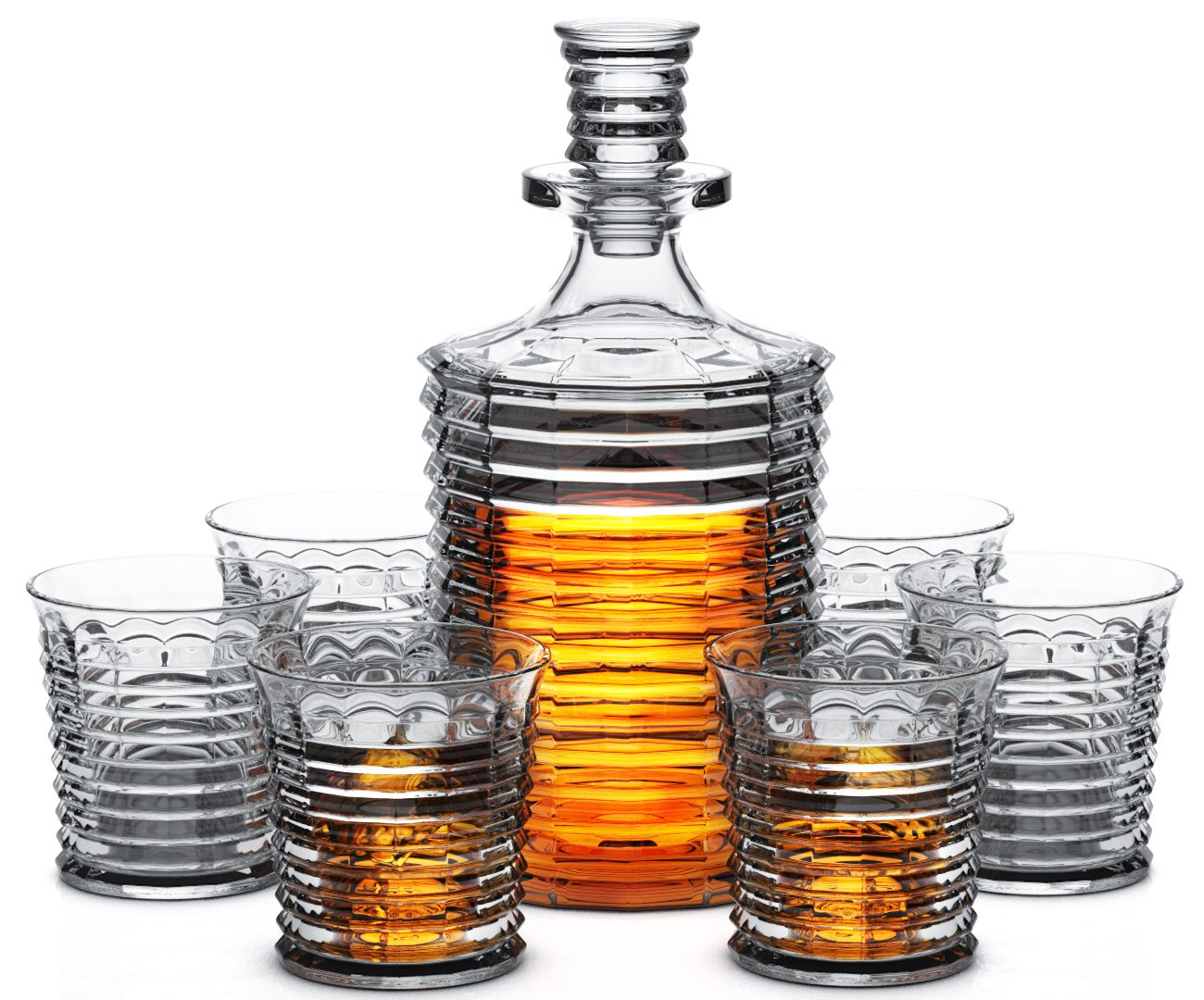 Miko Crystal Decanter Set With 6 Double Old Fashioned Glasses- Lead Free Crystal (Fort William)