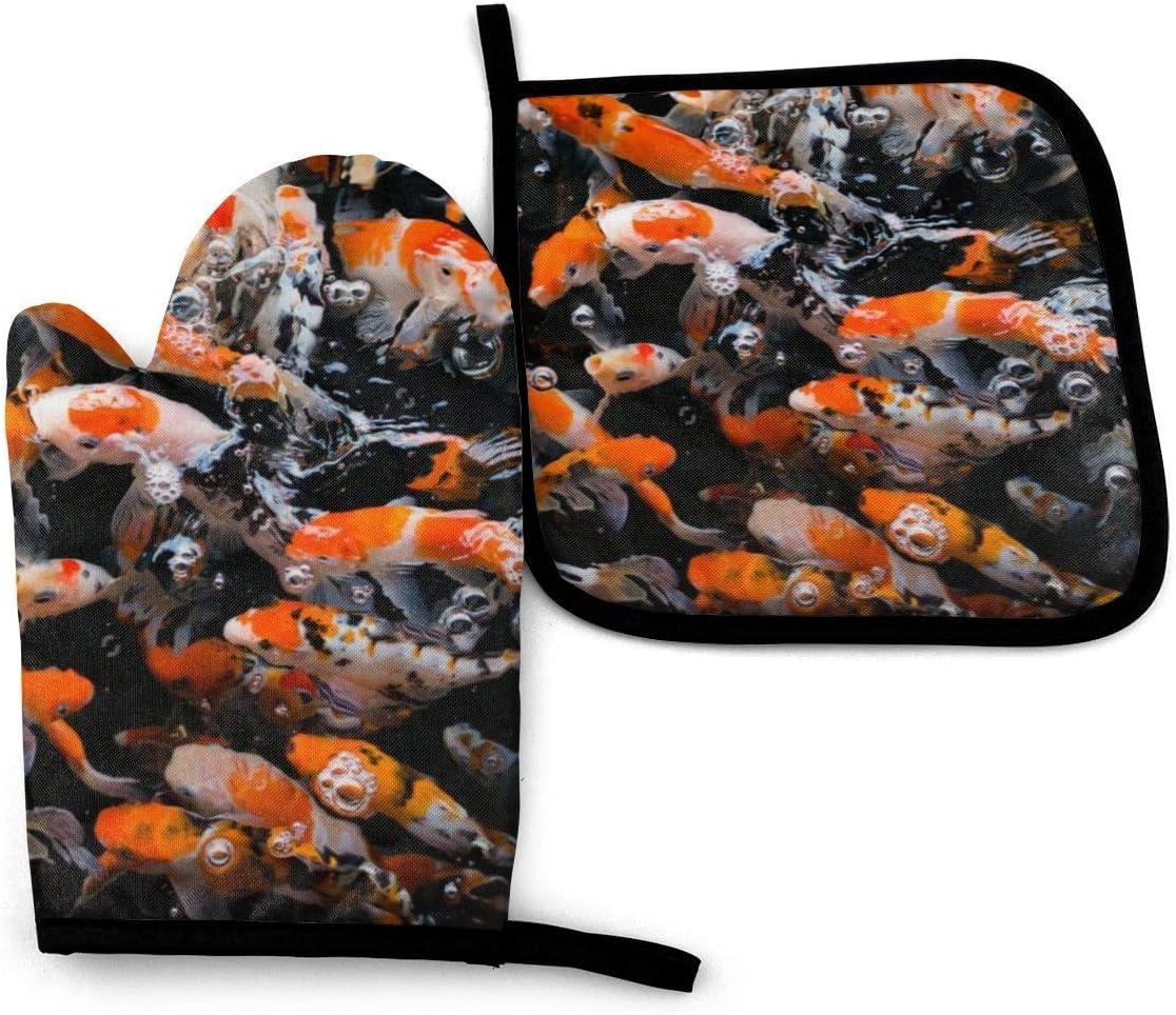 Juego de mitones y recipientes para ollas, Japón Pescados de carpa Koi de lujo Cocina resistente al calor y lavable Asado y barbacoa Horneado decorativo