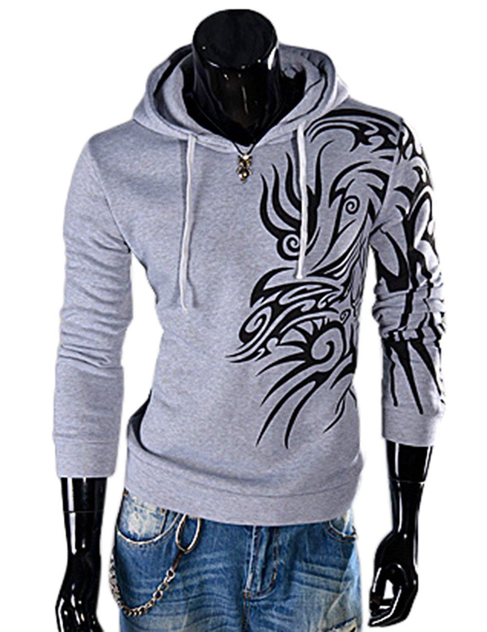 BellyLady Men's Pullover Hooded Printing Fleece Long Sleeve Hoodie Light Gray XL