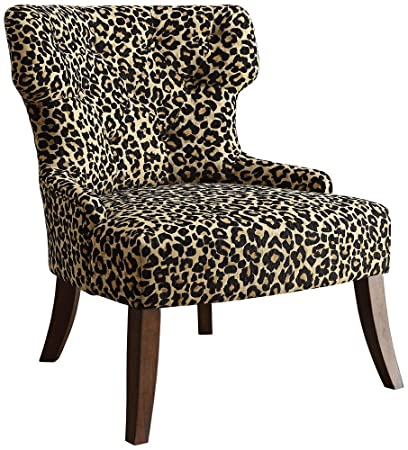 ACME Claribel Leopard Fabric And Espresso Accent Chair