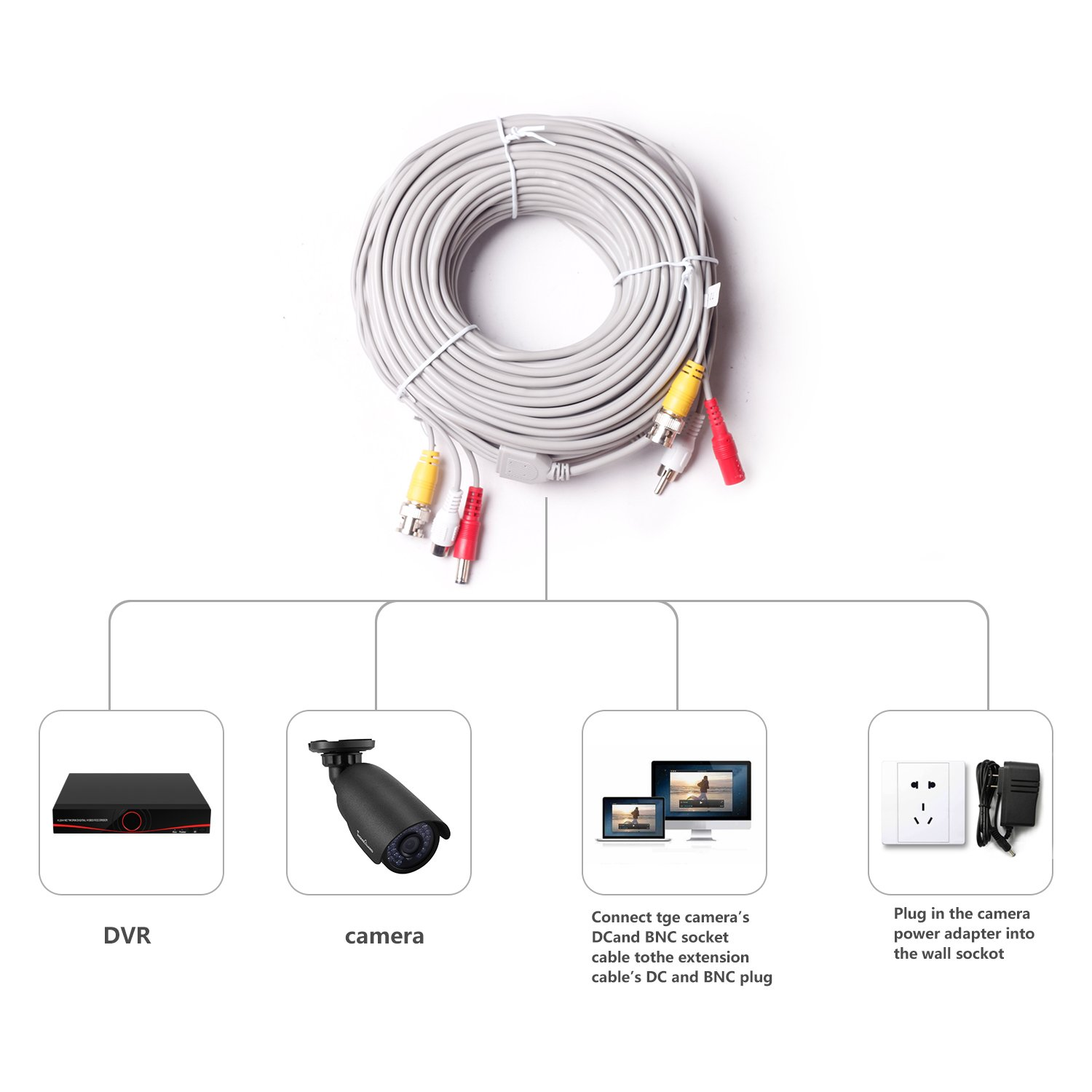 IHOMEGUARD 100Ft HD Pre-made All-in-One Audio Video Security Camera Cable  Power Extension Wire Cord with BNC RCA Connectors for 1080P 720P 960P 960H  CCTV ...
