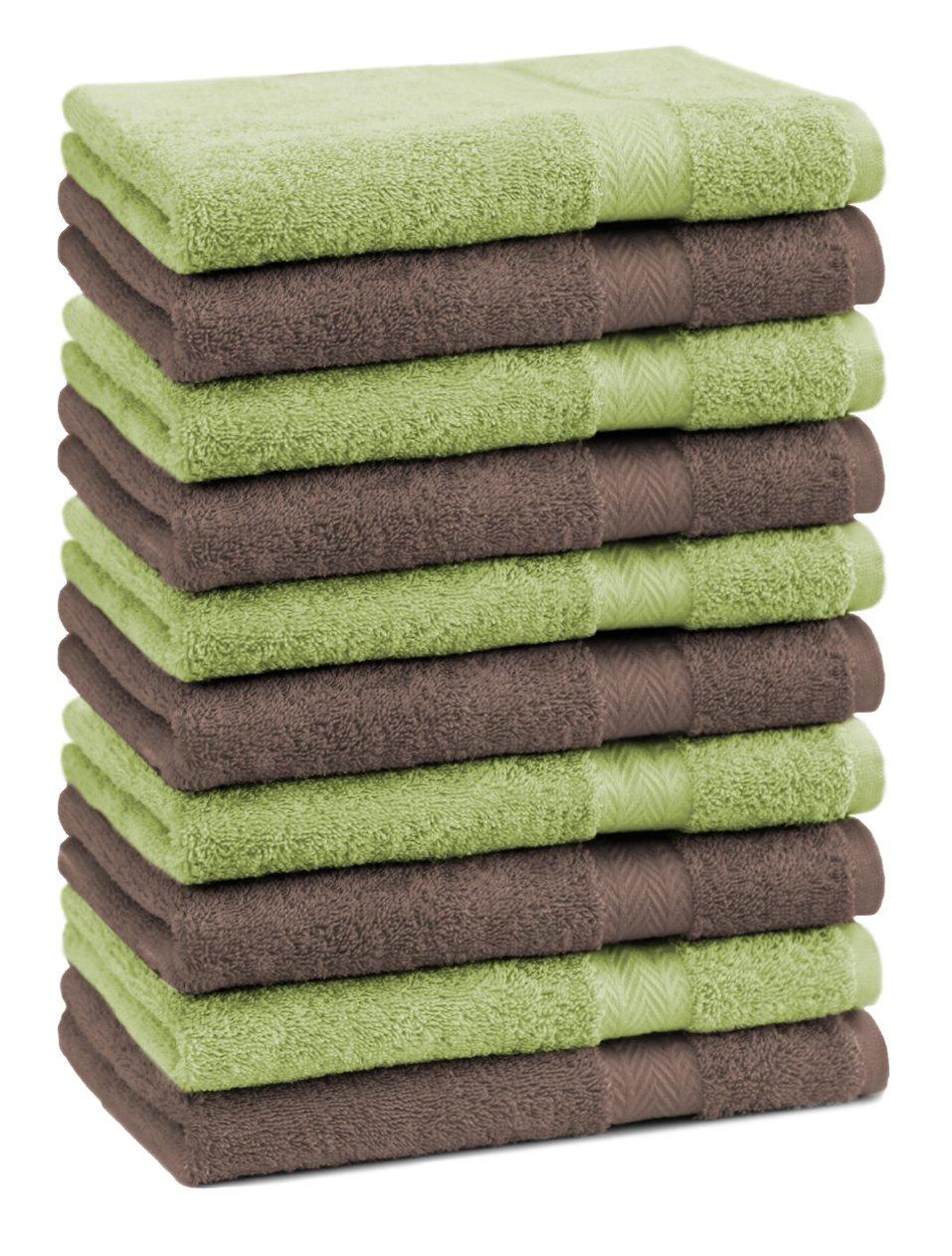 Betz. Set di 10 lavette lavetta salvietta da bidet asciugamano da bidet PREMIUM colore verde mela e marrone noce misura 30 x 30 cm