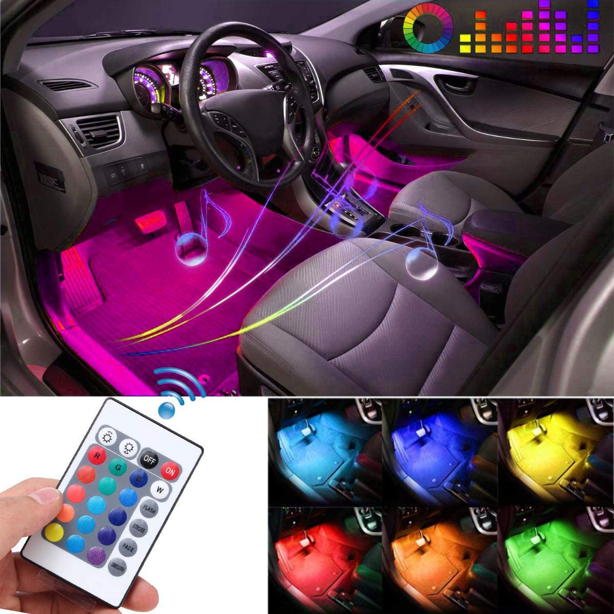 DC 12V 4pcs 36LED RGB Multicolor Music Car Interior Lights Under Dash Lighting Waterproof Kit with Sound Active Function and Wireless Remote Control Yolu Car LED Strip Light USB Port