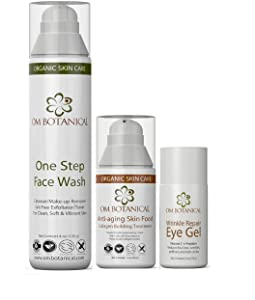Best Organic Anti-aging Kit with One Step Face Wash, Anti-aging Skin Food and Wrinkle Repair Eye Serum with Peptides and Vitamin C