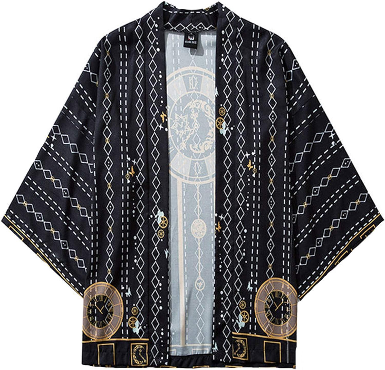 Mens Japanese Floral Yukata Kimono Cape Casual Baggy Cardigan Coat Jacket Tops