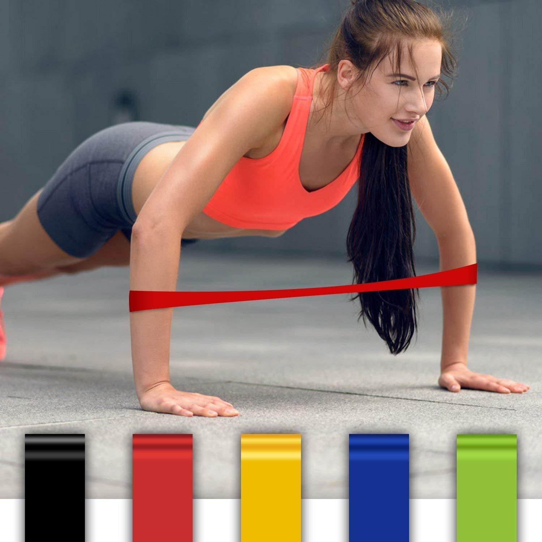 OTHA Banda Elástica, Bandas de Resistencia, Ligera/Media / Pesada 5 Niveles Banda de Ejercicios para Entrenamiento Crossfit Pilates Fisioterapia de Fuerza ...