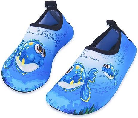 Apakowa Toddler Kids Swim Water Shoes Quick Dry Non-Slip Water Skin Barefoot Sports Shoes Aqua Socks for Boys Girls Toddler