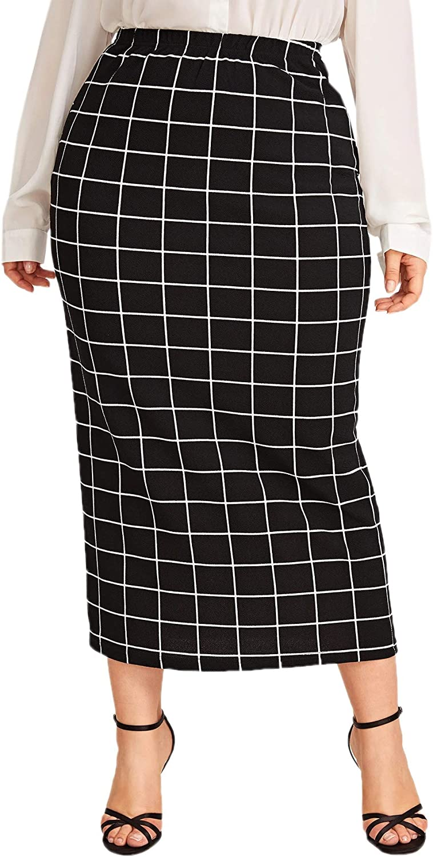 1950s Swing Skirt, Poodle Skirt, Pencil Skirts Verdusa Womens Plus Size Plaid Print Bodycon Midi Skirt $29.99 AT vintagedancer.com