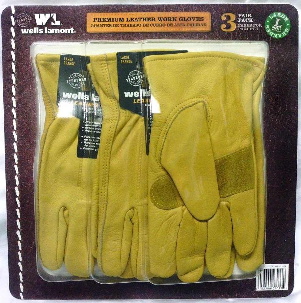 Wells Lamont Premium Leather Work Gloves 3 Pair Pack - Large by Wells Lamont