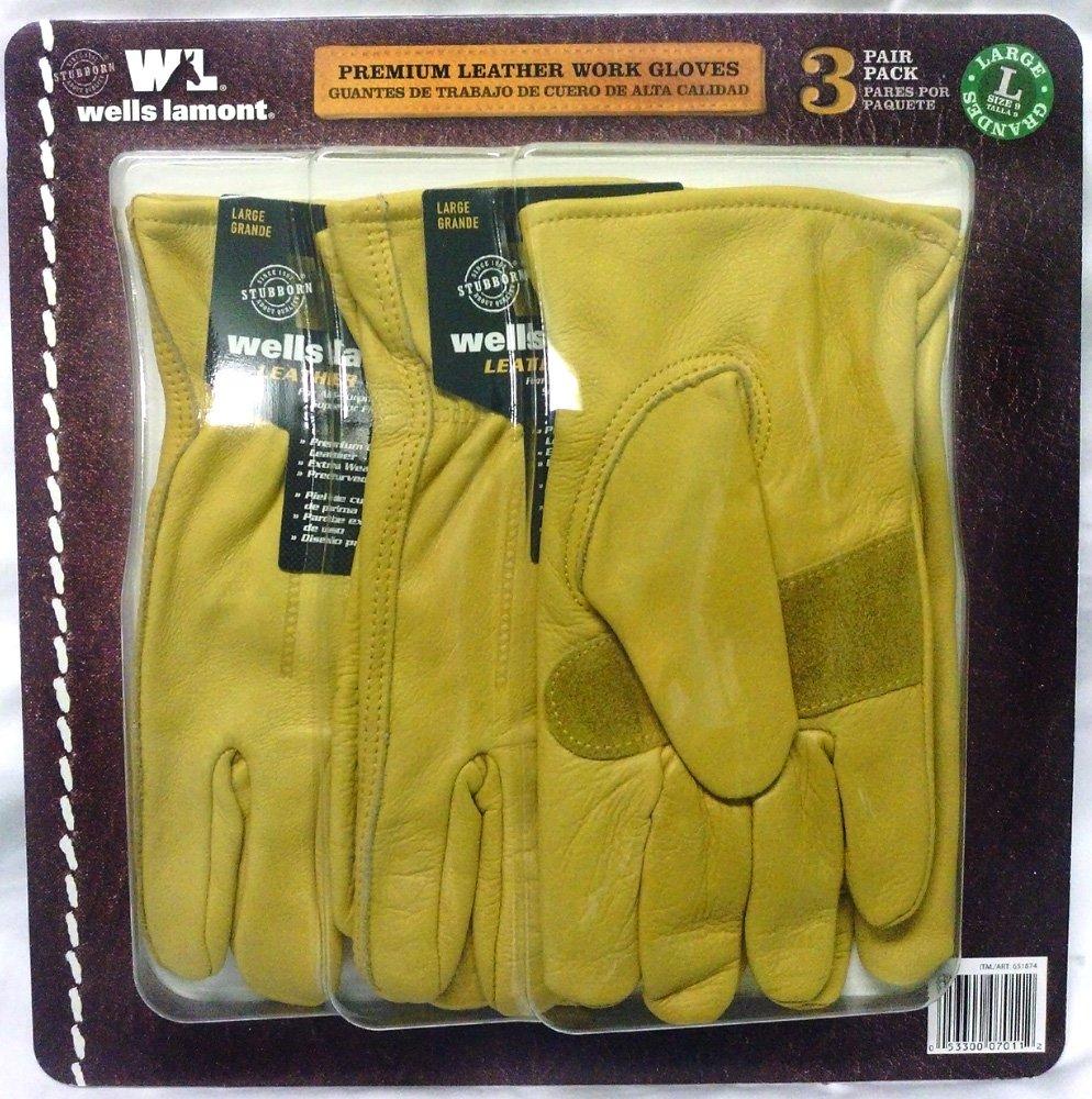 Leather Premium Work Gloves 3 pair Pack