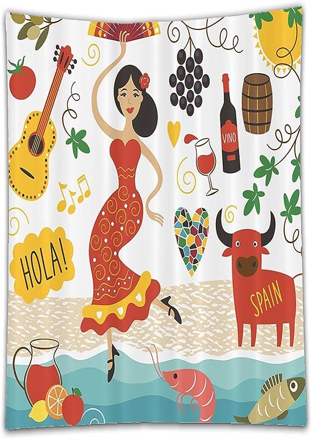 chaoran mantel fiesta España hitos y símbolos Flamenco Barcelona español mariscos Europea vacaciones Digital Clip Art Decor Home baño viajero ocio diseño rojo verde azul turquesa marrón casa de vacaciones de: Amazon.es: