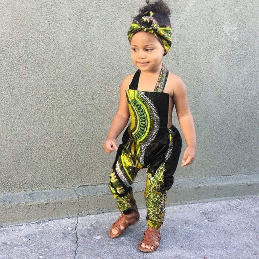 WOCACHI Kids Jumpsuit Toddler Baby Girls Boho Africa Halter Romper with Headband