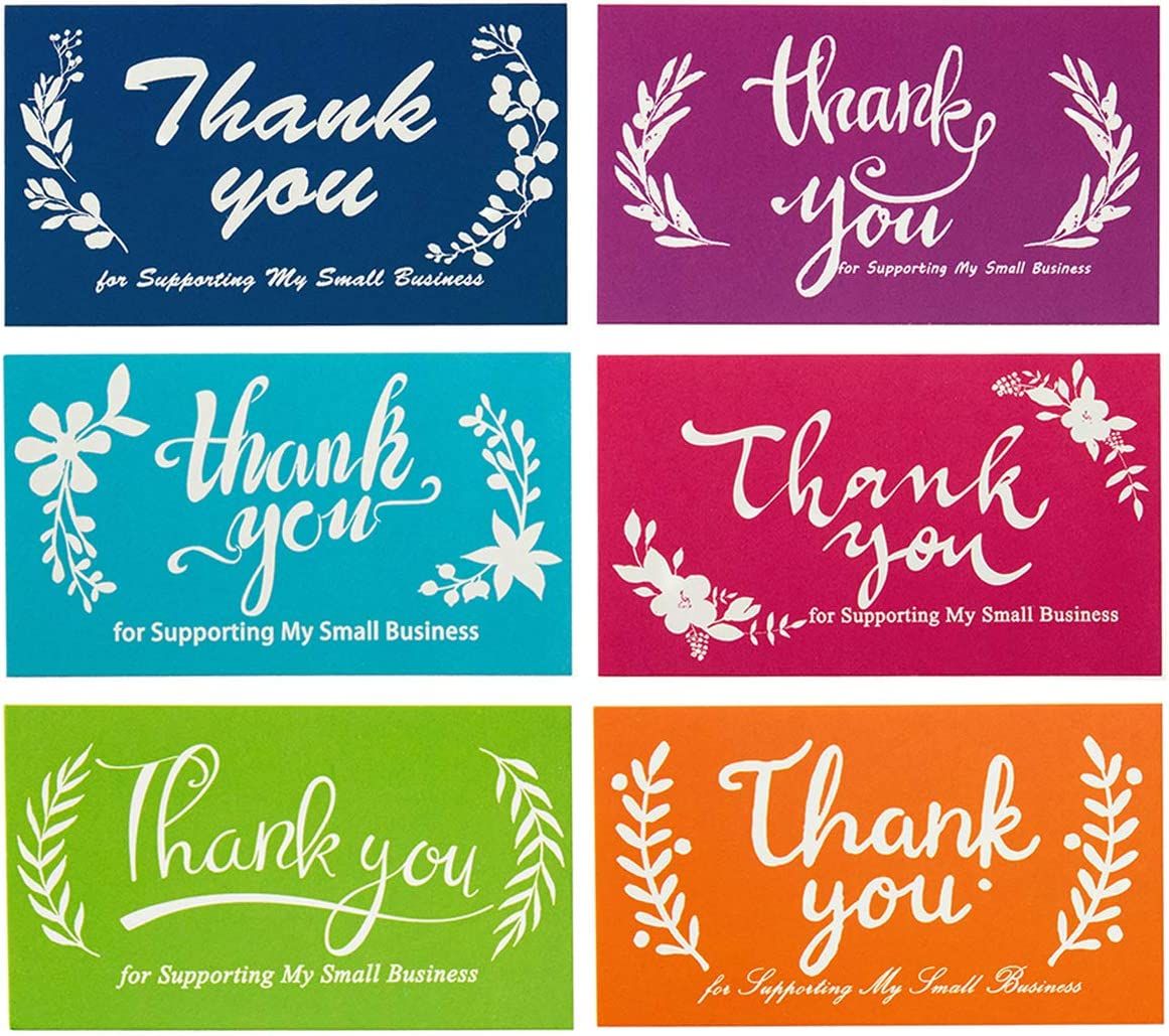 240 Pieces Thank You for Supporting My Small Business Cards, Kraft Small Thank You Floral Cards for Retail Store, Handmade Goods, Gift Shop Package Inserts(2 X 3.5 Inch) (Bright Color)