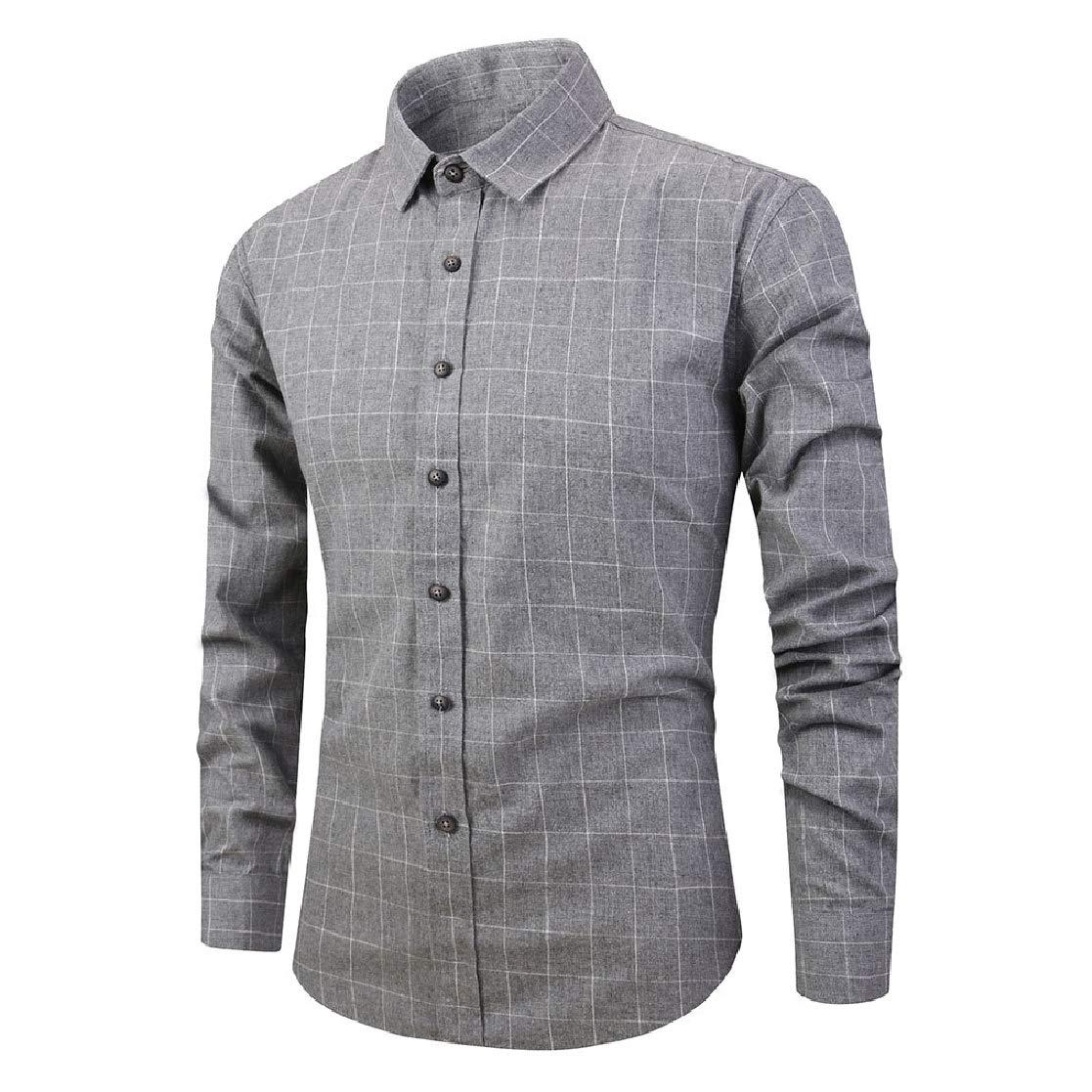YUNY Mens Plaid Lapel Collar Trim-Fit Casual Long Sleeve Long-Sleeve Shirts Gray 2XL