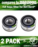2 Pack F15 HEPA Filter for Dirt Devil Vacuum Cleaners (compares to 3SS0150001). Genuine Green Label Product.