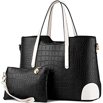 Pahajim PU leather women top handle satchel handbags tote purse Crocodile handbag