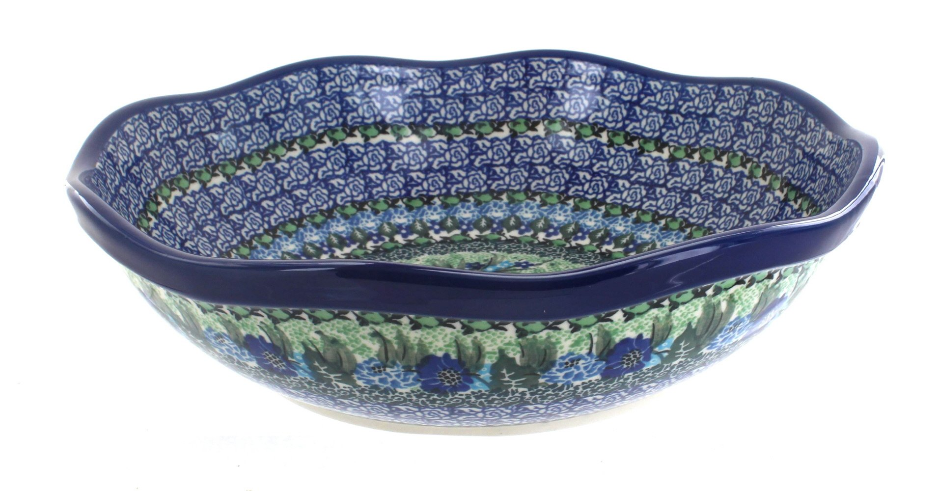 Blue Rose Polish Pottery Sapphire Fields Large Scallop Bowl
