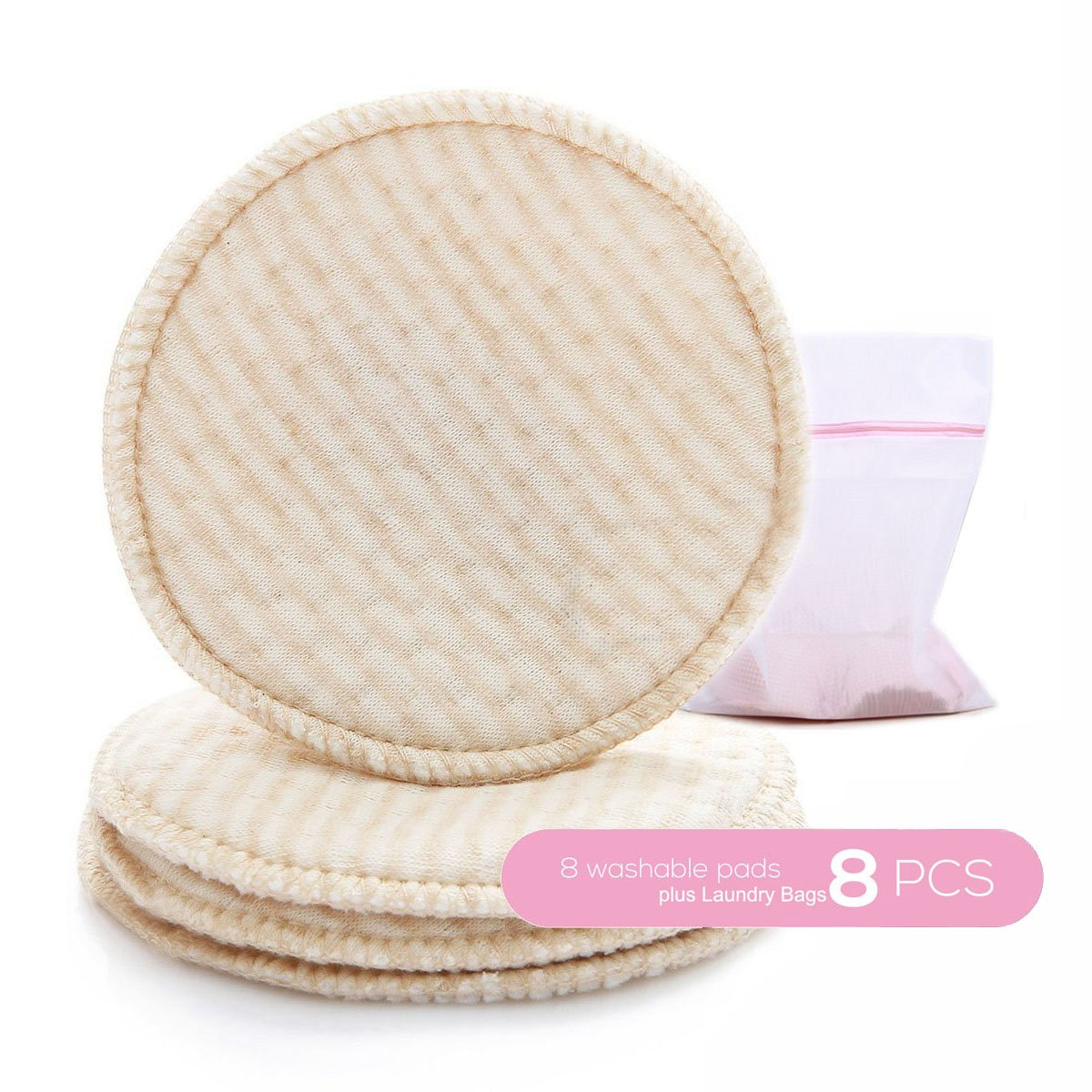 Organic Nursing Pads, Cotton Super Soft & Absorbent, with Laundry Bags (8 Pack)