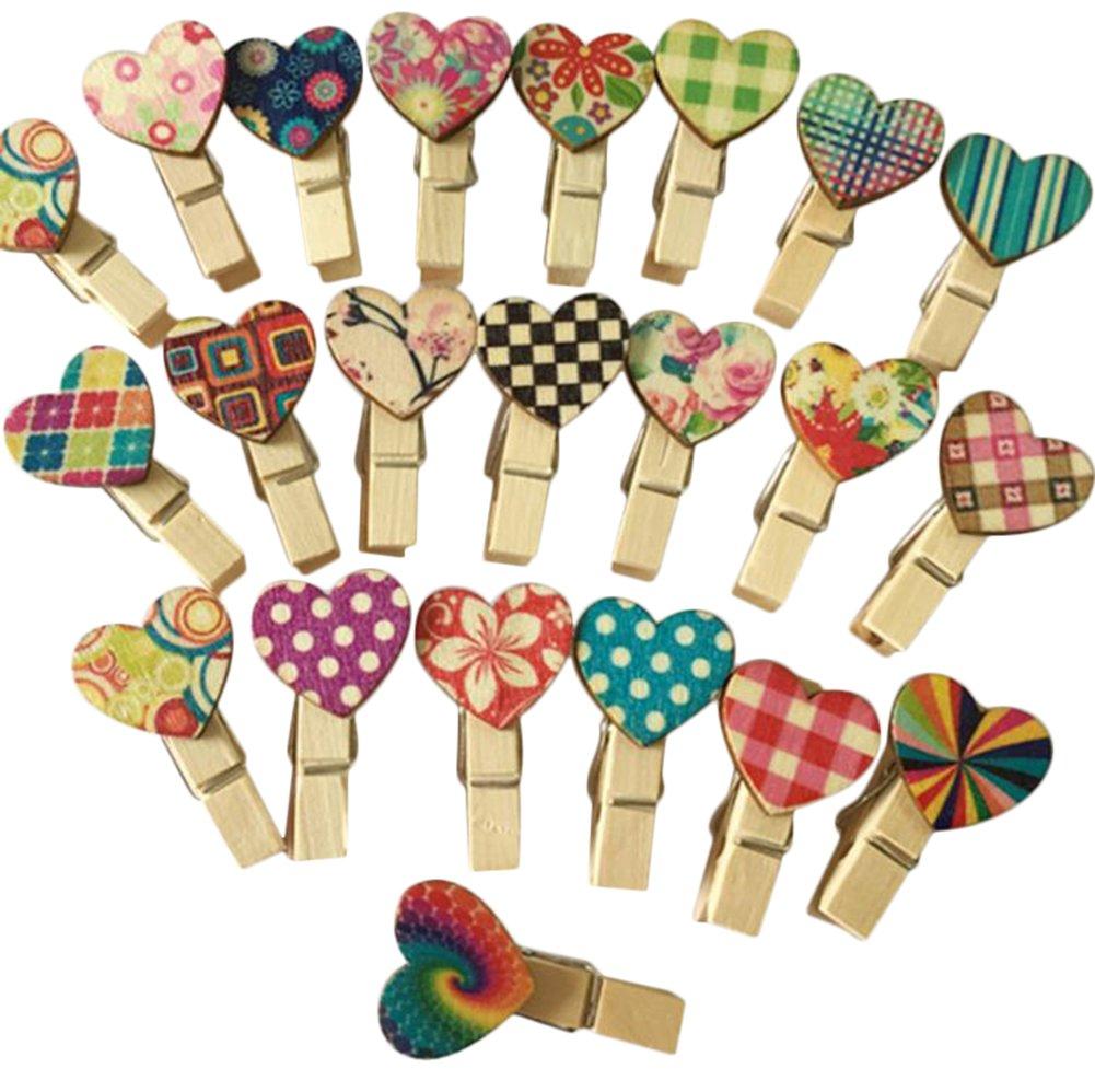 kanggest 100pcs mini mollette legno piccole per foto clip di legno decorative Cuore colori biancheria carta diy mini portafoto in legno, colore: aleatorio