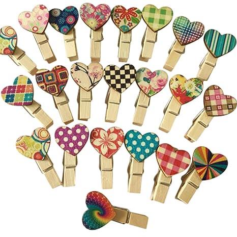 Colgar Clip Decorativas 100 Corazón Y Regalos Al Cosanter Color Adorno Madera Con Azar Para Pinzas De Fotografías xedBCro