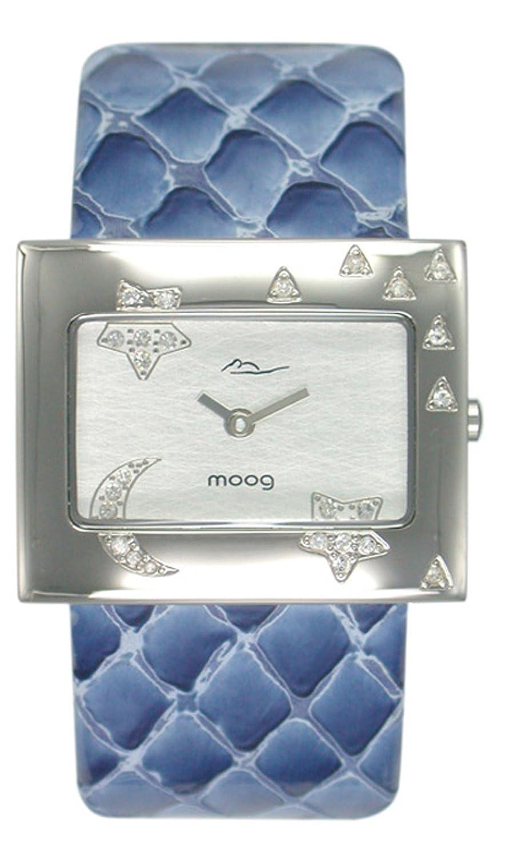 Moogパリ夜レディースウォッチシルバーダイヤル、ブルー本革ストラップ&スワロフスキー要素 – m44302 – 002 B018MLH04M
