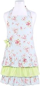 NEOVIVA Child Floral Apron for Kid Girls, Toddler Apron with Pocket, Floral Ballad Blue