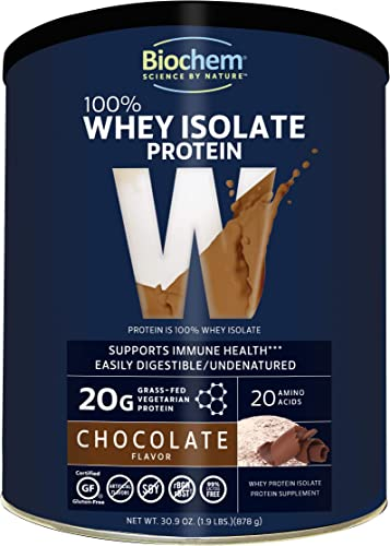 Biochem 100 Whey Isolate Protein – Chocolate – 30.9 oz – Pre Post Workout – Meal Replacement – Keto-Friendly – 20g of Protein – Easily Digestible – Refreshing Taste – Easy to Mix