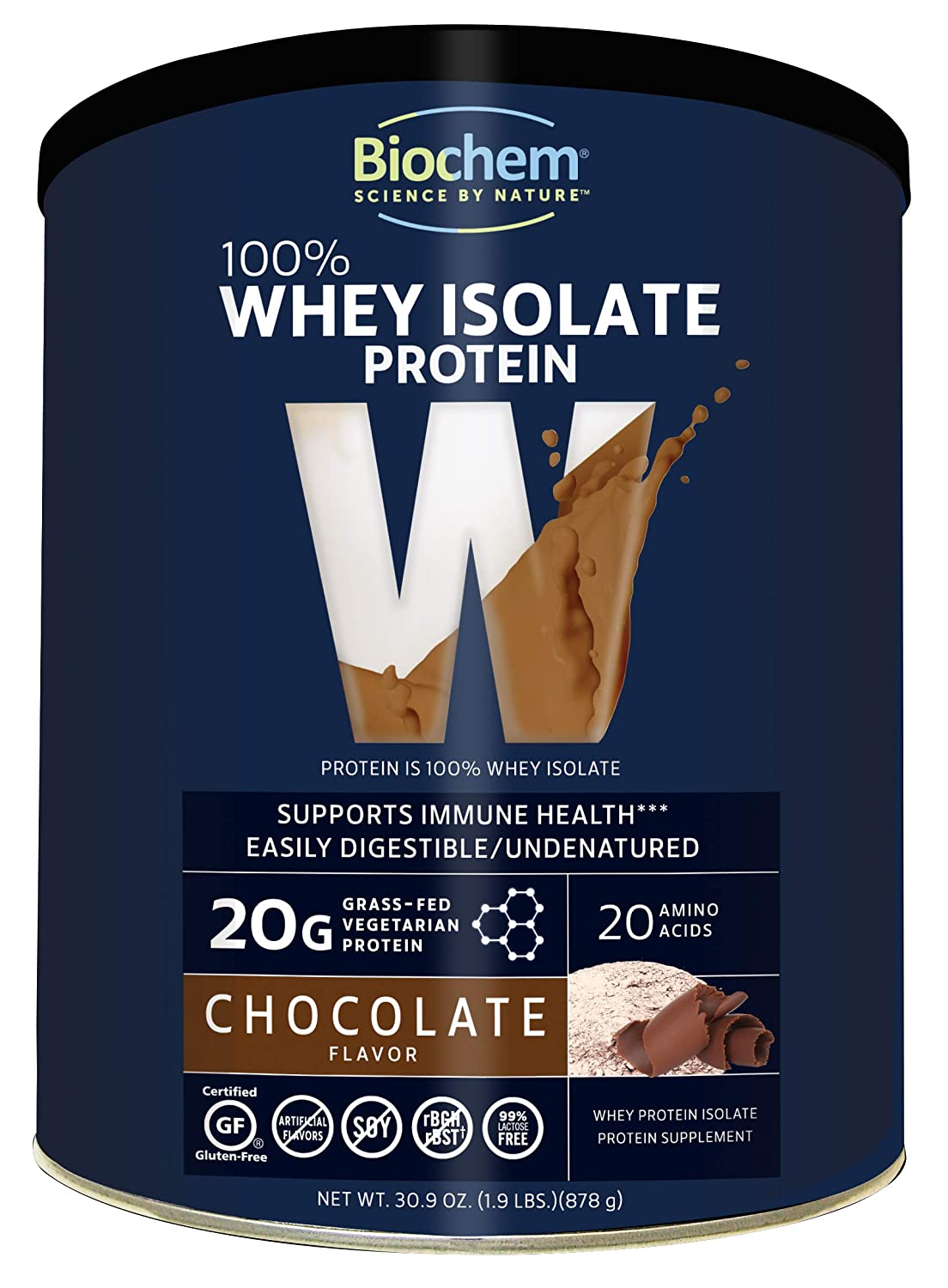 Biochem 100 Whey Isolate Protein – Chocolate Flavor – 30.9 Ounce – Supports Immune Health – Easily Digestible – Refreshing Taste – 20g Vegetarian Protein – Amino Acids