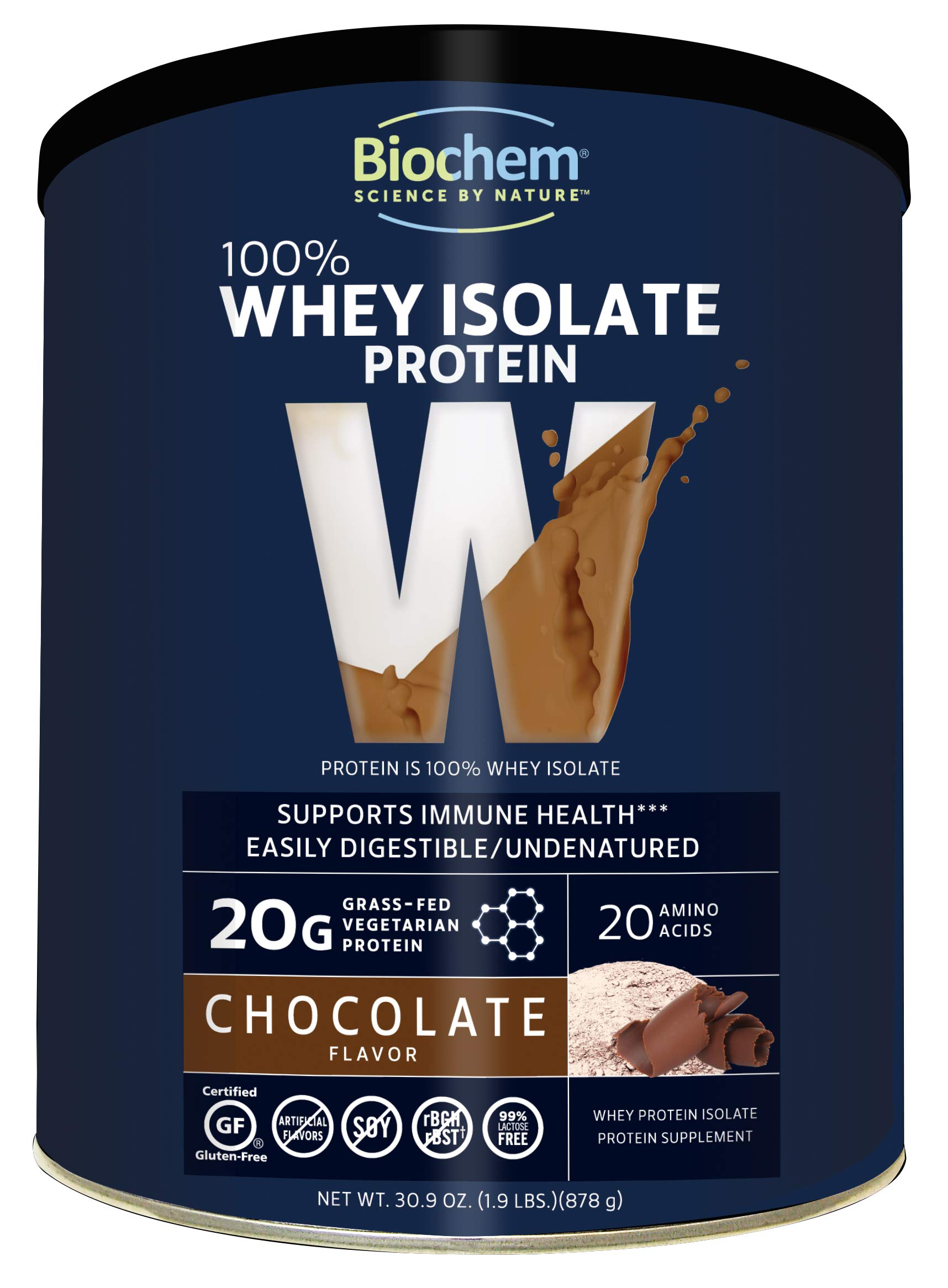 Biochem 100% Whey Isolate Protein - Chocolate Flavor - 30.9 Ounce - Supports Immune Health - Easily Digestible - Refreshing Taste - 20g Vegetarian Protein - Amino Acids by Biochem