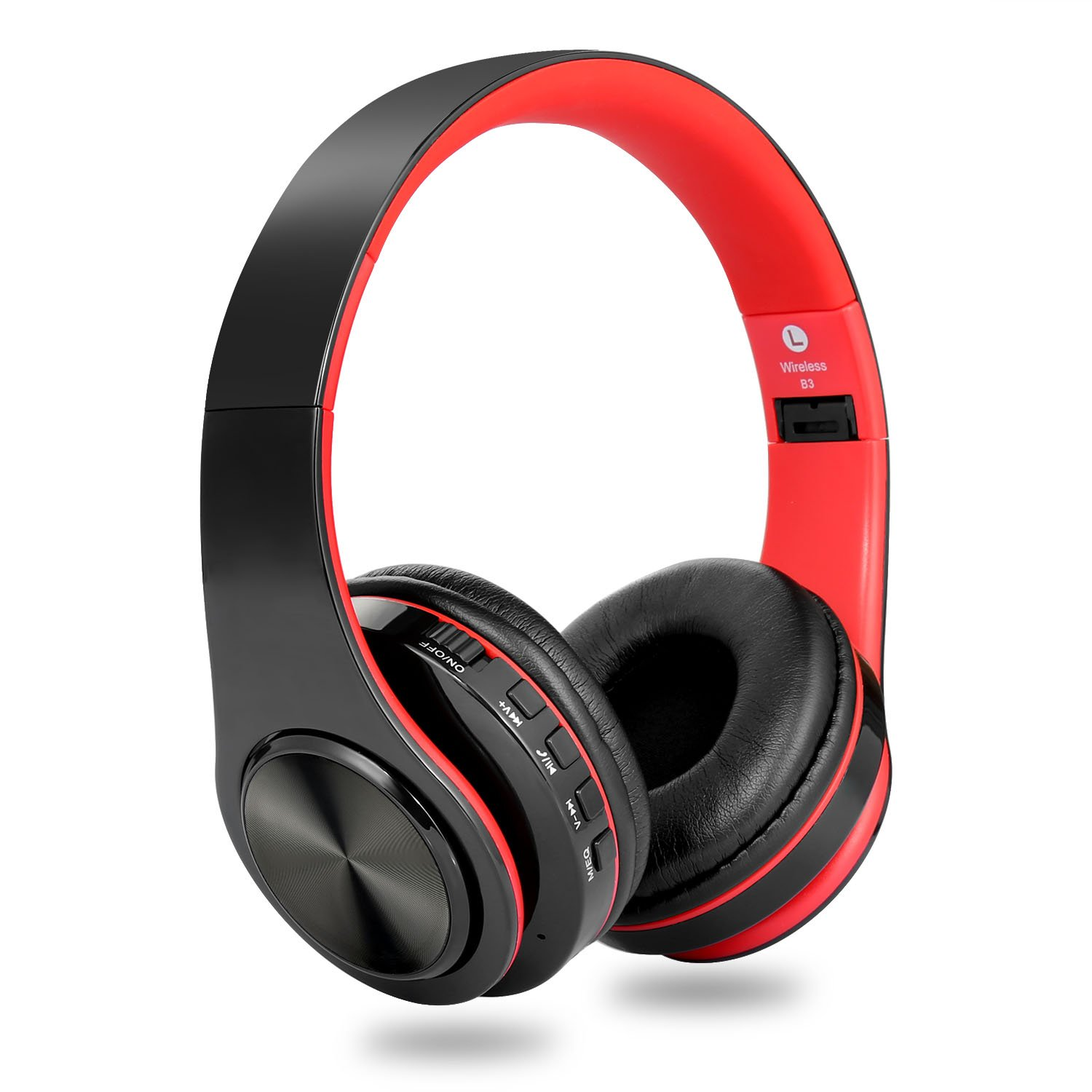 Wireless Headphones Over Ear, Foldable Hi-Fi Deep Bass Bluetooth Headphones with Mic and Wired Headset Support SD/TF Card for Travel Work Cell Phones PC (Red)