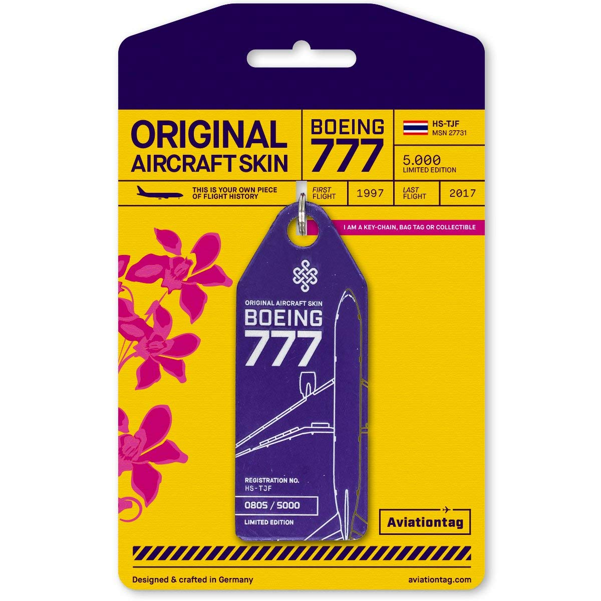 AVT039 AviationTag Boeing 777-200 Reg #HS-TJF (Thai Airways) Purple Original Aircraft Skin Keychain/Luggage Tag/Etc with Lost & Found Feature by AviationTag
