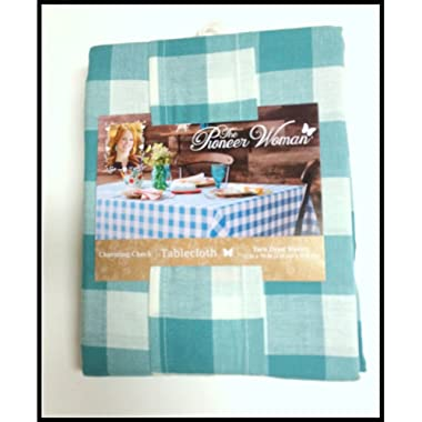 Pioneer Woman Tablecloth Teal Plaid Charming Check 52  by 70