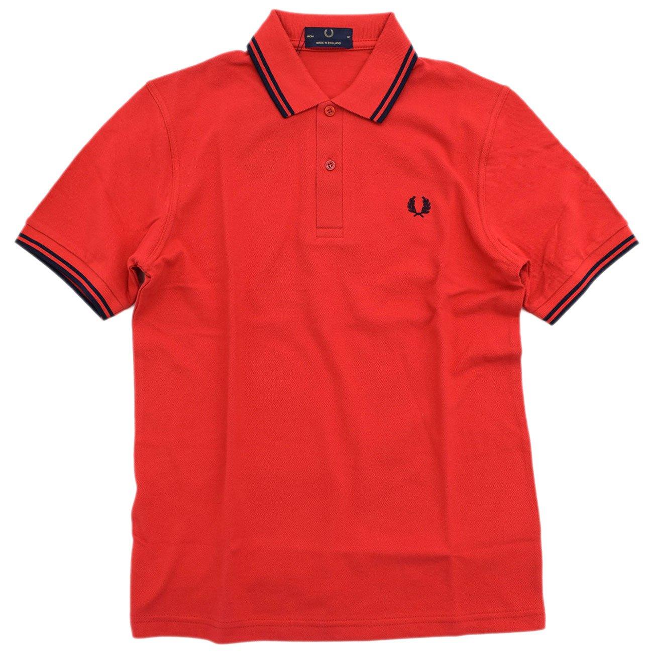 (フレッドペリー) FRED PERRY ポロシャツ ポロ 英国製 半袖 メンズ M12N イングランド B07C4RNV61 42(日本XL)|レッド/ネイビー(853) レッド/ネイビー(853) 42(日本XL)