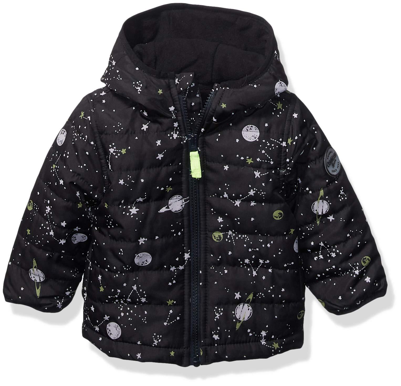 Osh Kosh Baby Boys Reversible Midweight Jacket, Black Glow in The Dark, 18Mo by OshKosh B'Gosh